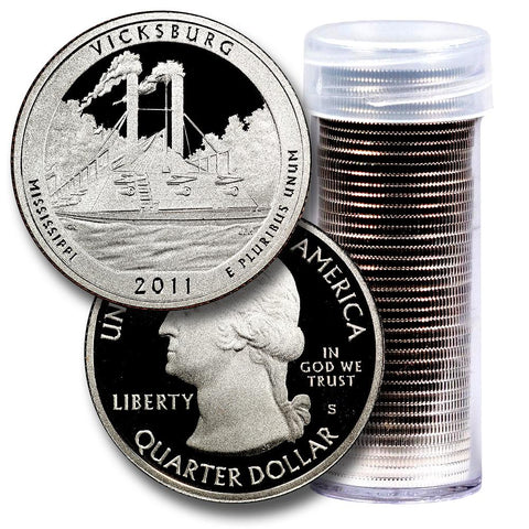 40-Coin Roll of 2011-S Vicksburg America The Beautiful Clad Proof Quarters - Directly From Proof Sets