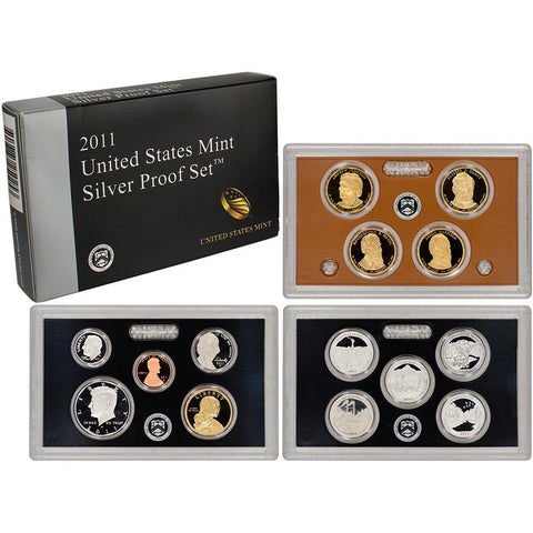 2011-S America The Beautiful 14 Coin Silver Proof Set, In Original Mint Box with COA