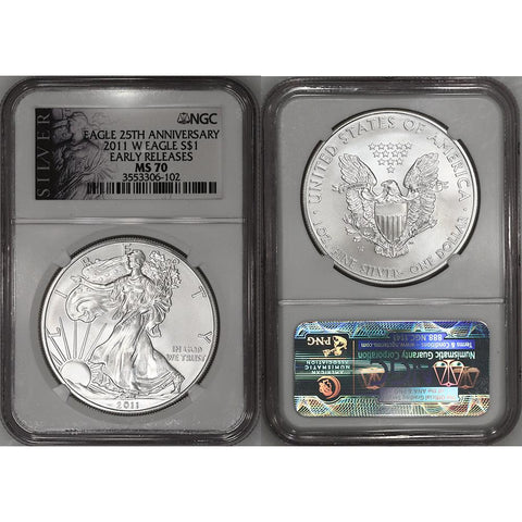 2011-W Burnished American Silver Eagle - NGC MS 70