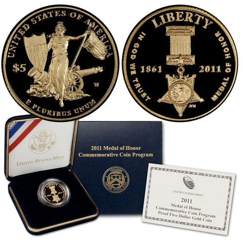2011-W Proof Medal of Honor $5 Gold - Gem in OGP w/ COA