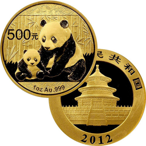2012 500 Yuan 1 oz Gold Panda - Gem Uncirculated in Mint Plastic