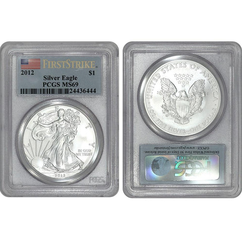 2012 American Silver Eagle PCGS MS69,First Strike MERCANTI Struck at WEST POINT