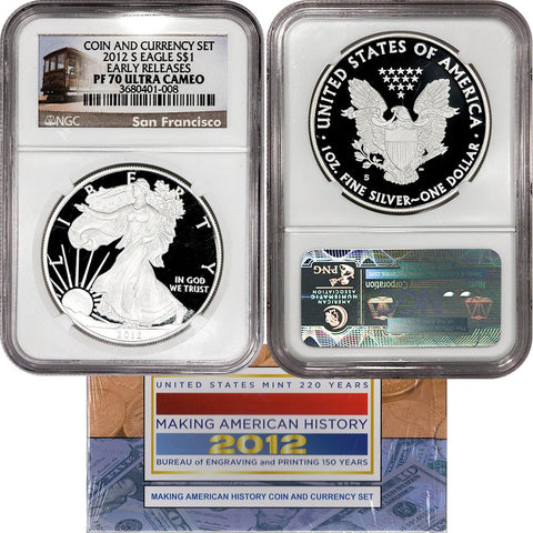 Certified 2012 Coin (2012-S Eagle) & Currency (2009 $5) Set NGC PF 70 & PMG Gem
