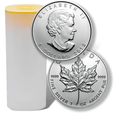 25-Coin Rolls of 2012 Canadian $5 Maple Leaf 1 oz Silver Coins KM.625 - In Original Tubes