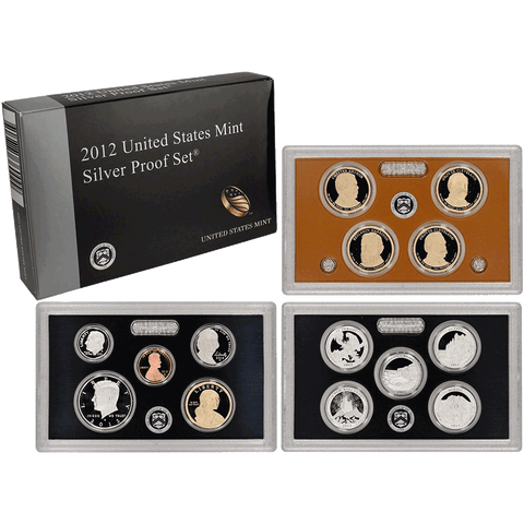 2012-S US Mint Silver Proof Sets in Original Box with COA