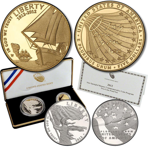 2-Coin 2012-W Star-Spangled Banner Gold & Silver $5, $1 Commemorative Proof Set