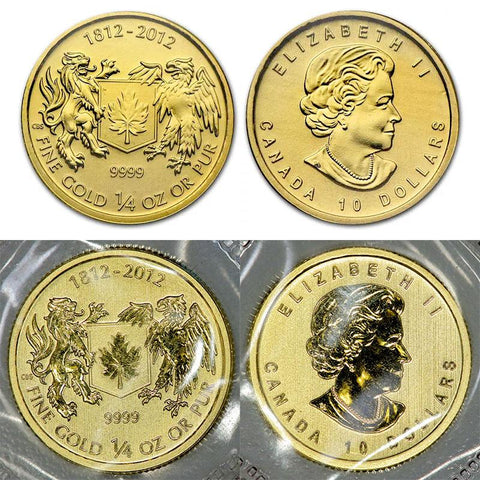 2012 $10 War of 1812 Quarter Ounce Gold - Gem Uncirculated (Mint Sealed)