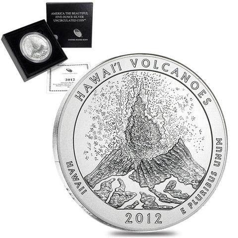 2012-P Hawaii America The Beautiful Silver Burnished 5 oz Quarter - Gem in OGP