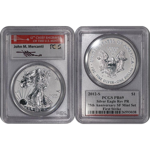 2012-S Reverse Proof American Silver Eagle - PCGS PR 69 Mercanti First Strike
