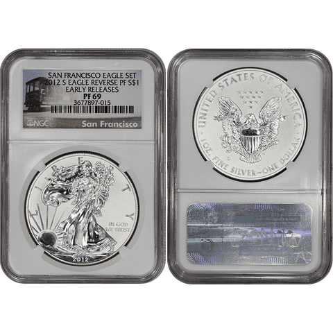 2012-S Reverse Proof American Silver Eagle in NGC PF 69
