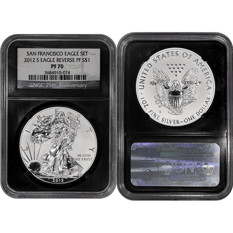 2012-S Reverse Proof American Silver Eagle in NGC PF 70