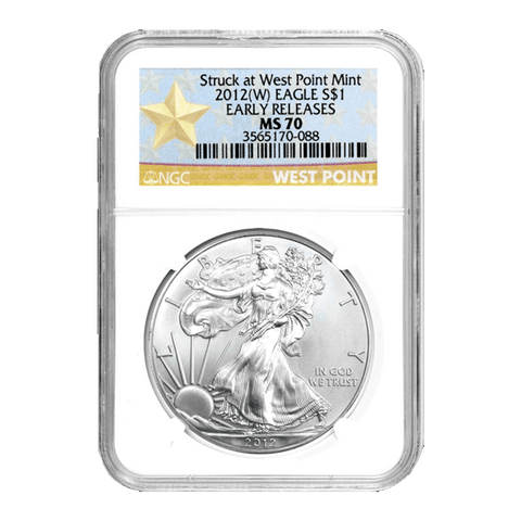 2012(W) American Silver Eagles Struck at West Point Mint in NGC MS 70 ER