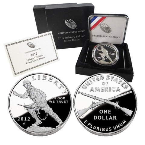 2012-W Infantry Soldier Proof Commemorative Silver Dollar in OGP w/ COA