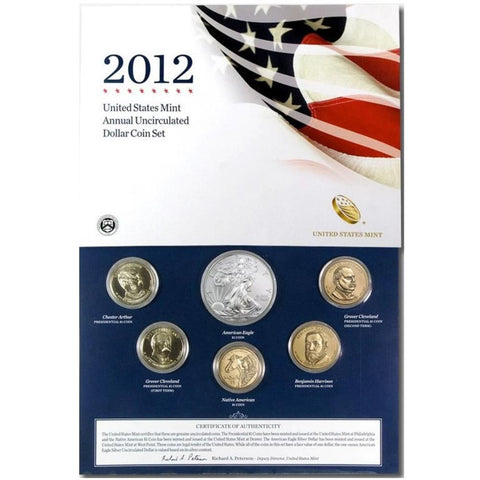 2012 6-Coin U.S. Mint Annual Uncirculated Dollar Coin Set In Superb Original Mint Packaging