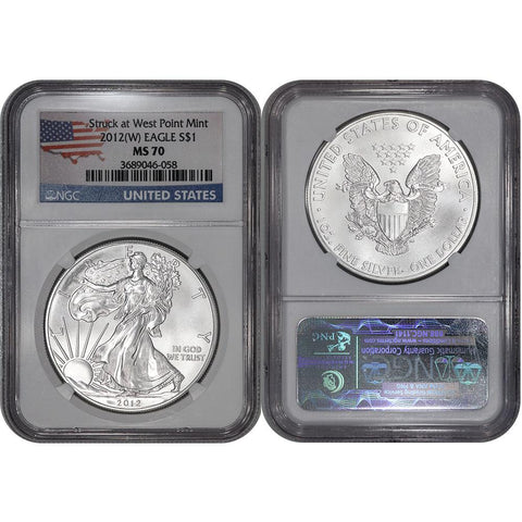 2012 American Silver Eagle - NGC MS 70 - Continental US Flag Label