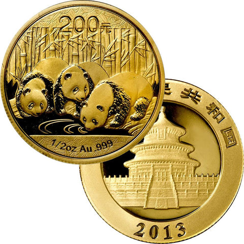 2013 200 Yuan 1/2 oz Gold Panda - Gem Uncirculated in Mint Plastic