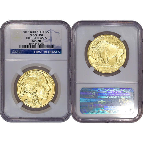 2013 Buffalo $50 .9999 One Ounce Gold - NGC MS 70 First Releases