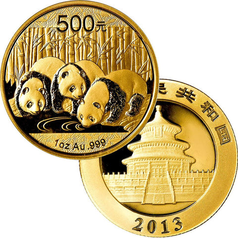 2013 500 Yuan 1 oz Gold Panda - Gem Uncirculated in Mint Plastic
