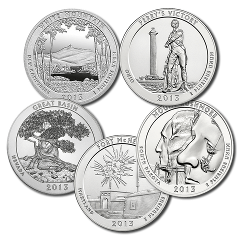 2013 America The Beautiful 5 oz Five Coin Silver Set