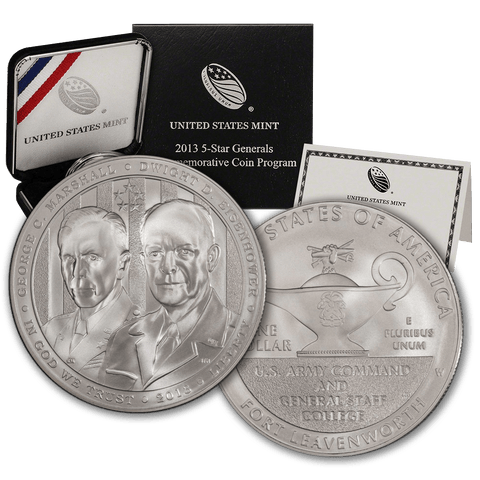 2013-W 5-Star General Silver Commemorative Dollar - Gem Uncircualted in Original Box with COA