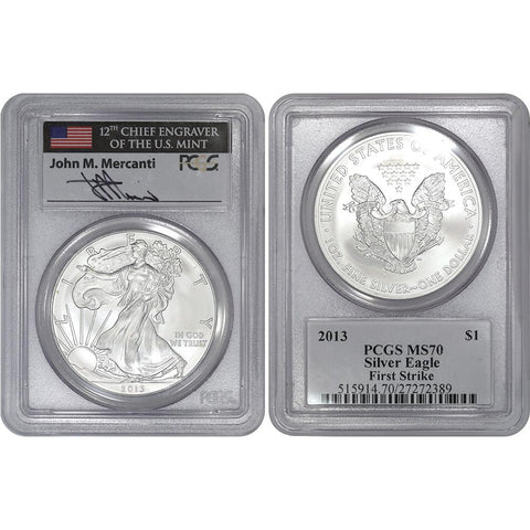 2013 American Silver Eagle - PCGS MS 70 First Strike Mercanti