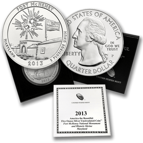 2013-P Fort McHenry America The Beautiful Silver Burnished 5 oz Quarter - Gem in OGP