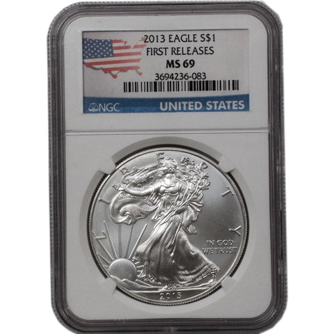 2013 American Silver Eagle First Release in NGC MS 69