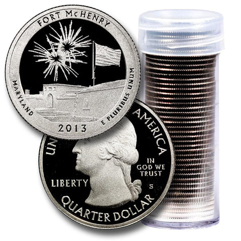 40-Coin Roll of 2013-S Fort McHenry America The Beautiful Clad Proof Quarters - Directly From Proof Sets