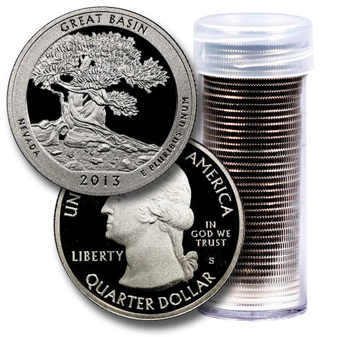 40-Coin Roll of 2013-S Great Basin America The Beautiful Clad Proof Quarters - Directly From Proof Sets