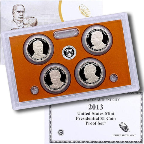 4-Coin 2013-S Presidential Dollar Proof Set - in Original Box with COA