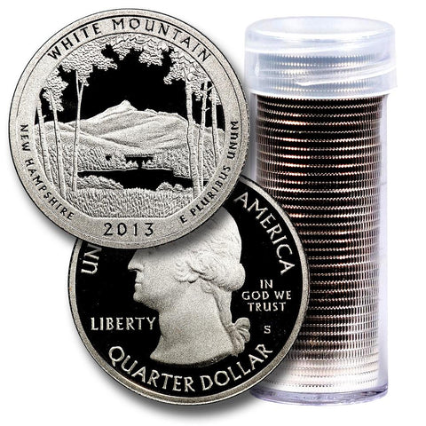 40-Coin Roll of 2013-S White Mountain America The Beautiful Clad Proof Quarters - Directly From Proof Sets