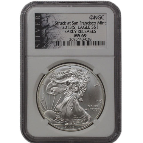 2013(S) American Silver Eagle ER in NGC MS 69