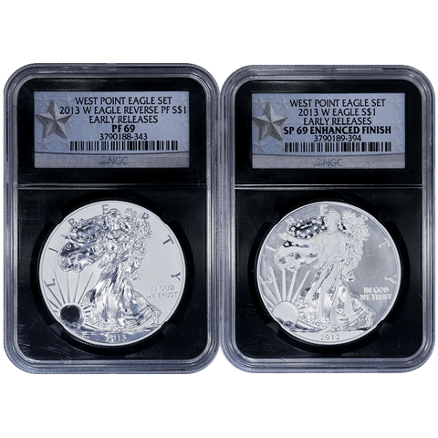 2013-W West Point 2-Coin American Silver Eagle Set in NGC PF/SP 69