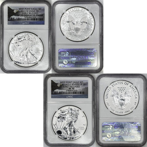 2013-W West Point 2-Coin American Silver Eagle Set in NGC PF/SP 70