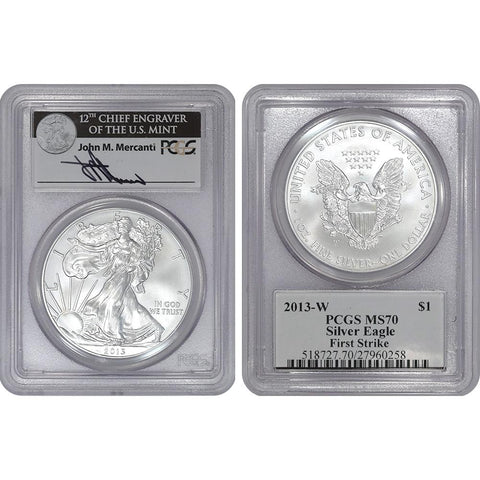 2013-W Burnished Silver Eagle - PCGS MS 70 Mercanti First Strike (Scarce Label)