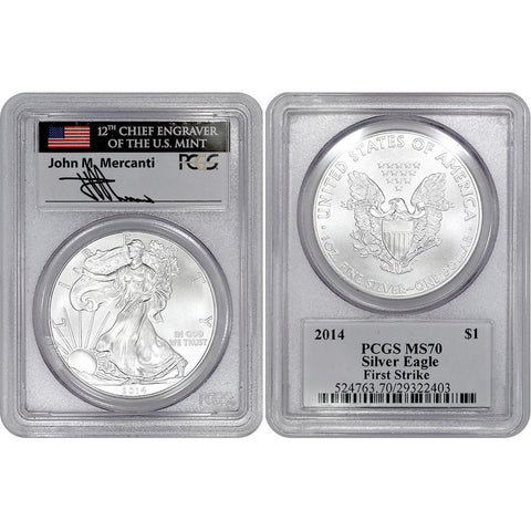 2014 American Silver Eagle - PCGS MS 70 First Strike Mercanti