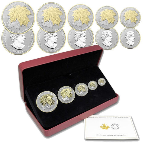 2014 Canada Silver Maple Leaf Fractional Reverse Proof Set in OGP