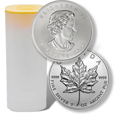25-Coin Rolls of 2014 Canadian $5 Maple Leaf 1 oz Silver Coins KM.625 - In Original Tube
