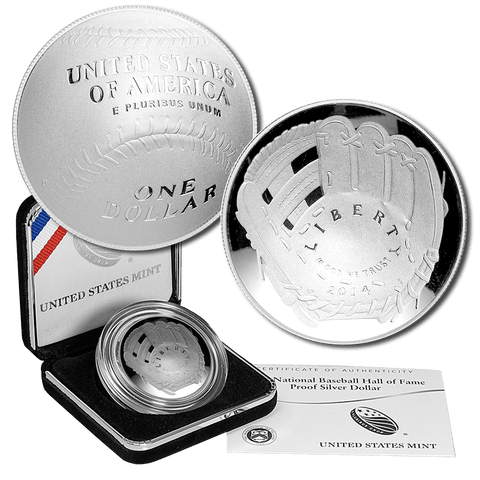 2014-P Proof Baseball Hall of Fame Commemorative Silver Dollars - In Original Box with COA