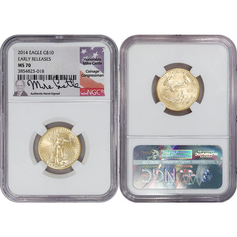 2014 $10 1/4 Oz Quarter Ounce Gold Eagle - NGC MS 70 Castle Signature