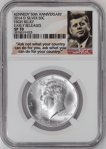 2014-D 50th Anniversary Silver Kennedy Half Dollar - NGC SP 70