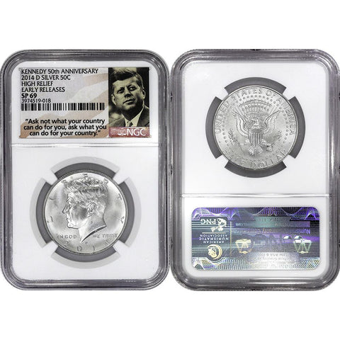 2014-D High Relief 50th Anniversary Silver Kennedy - NGC SP 69