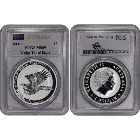 2014-P Australia $1 Wedge Tailed Eagle .999 Silver Ounce - PCGS MS 69 Mercanti