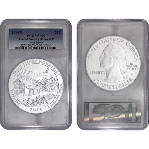 2014-P America The Beautiful 5 oz Silver Great Smoky Mountains - PCGS SP 70
