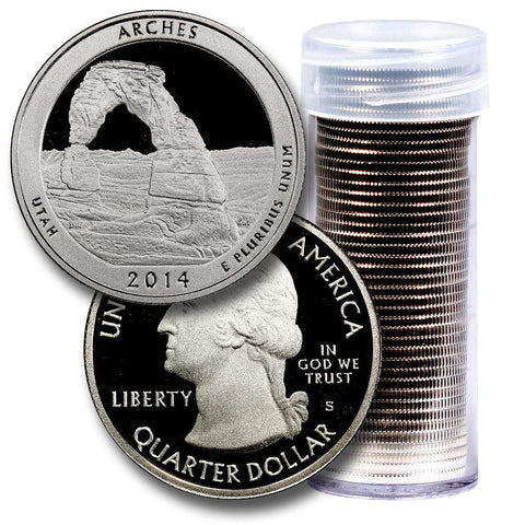 40-Coin Roll of 2014-S Arches America The Beautiful Clad Proof Quarters - Directly From Proof Sets