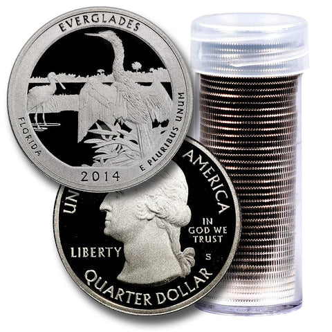 40-Coin Roll of 2014-S Everglades America The Beautiful Clad Proof Quarters - Directly From Proof Sets