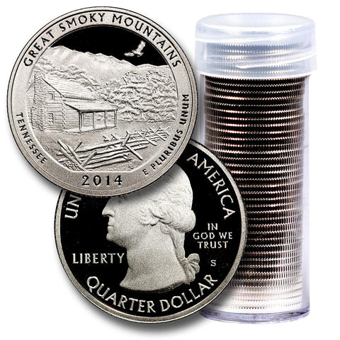 40-Coin Roll of 2014-S Great Smoky Mountains America The Beautiful Clad Proof Quarters - Directly From Proof Sets