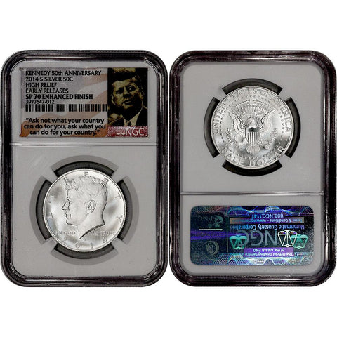 2014-S High Relief 50th Anniversary Enhanced Silver Kennedy - NGC SP 70