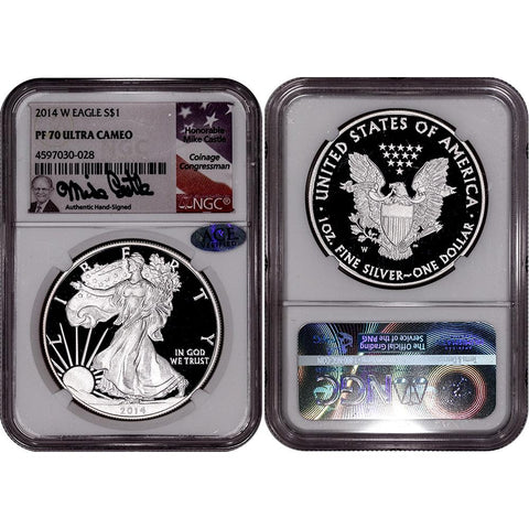 2014-W Proof American Silver Eagle - NGC PF 70 UCAM Mike Castle Signature