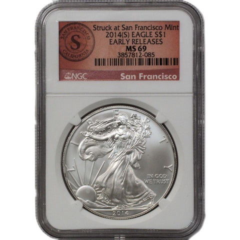 2014(S) American Silver Eagle ER in NGC MS 69